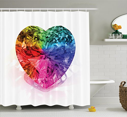 Diamond Decor Shower Curtain Set by Ambesonne, Heart Shape Colorful Illuminated Diamond Love is Precious Romance Marriage Couples Concept, Bathroom Accessories, 75 Inches Long, Multi