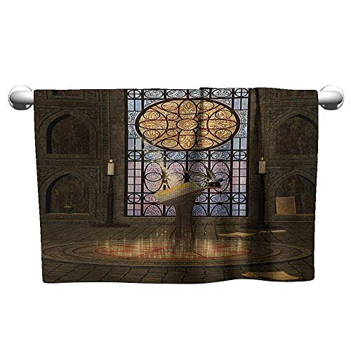 """alisoso Gothic,Kids Bath Towels Lectern on Pentagram Symbol Medieval Architecture Candlelight in Dark Altar Gym Towels for Women Olive Green Mustard W 28"""" x L 14"""""""