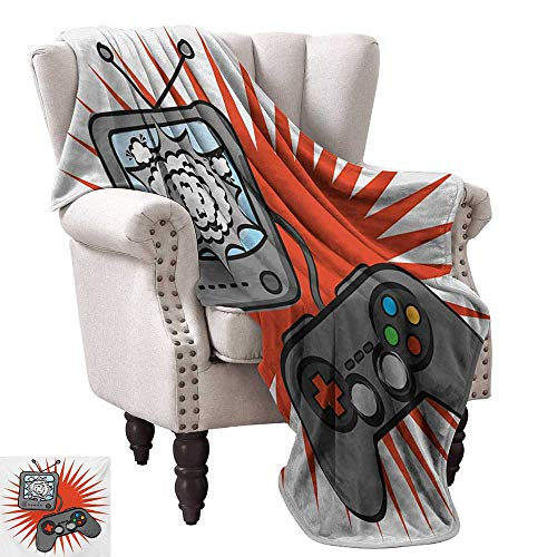 Anyangeight Custom Design Cozy Flannel Blanket,Video Games Themed Design in Retro Style Gamepad Console Entertainment 70