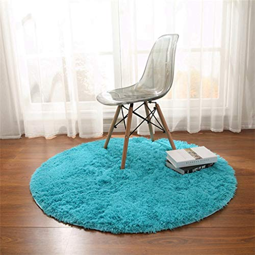 MOXIC Solid Round Area Rugs Soft Shag Living Room Bedroom Children Rug Anti-Slip Plush Carpet Bathroom Mats Circular Modern Home Decorate Nursery Runners Sky Blue 4' X 4'