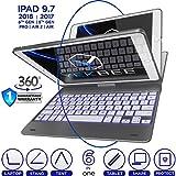 iPad Keyboard Case for iPad 2018 (6th Gen) - iPad 2017 (5th Gen) - iPad Pro 9.7 - iPad Air 2 & 1 - Thin & Light - 360 Rotatable - Wireless BT - Backlit 10 Color - iPad Case with Keyboard (Space Gray)