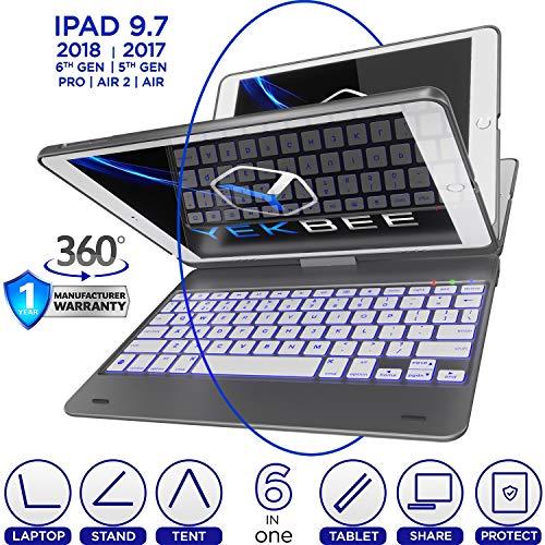 [해외]Universal PC Keyboard ... USB QWERTY 검정 / iPad Keyboard Case for iPad 2018 (6th Gen) - iPad 2017 (5th Gen) - iPad Pro 9.7 - iPad Air 2 & 1 - Thin & Light - 360 Rotatable - WirelessBT - Backlit 10 Color - iPad Case with Keyboard (...