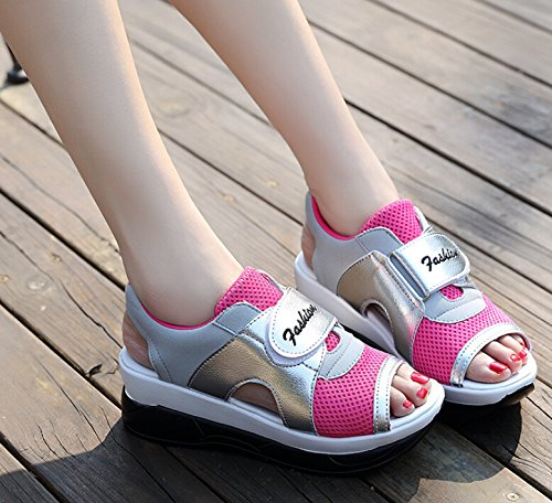 Casual Slip Trainers Peep Womens Rose Hattie Running Platform Toe On Sandals Mesh BqwZ4W5nH