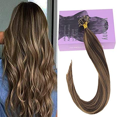 VeSunny 20 Straight Pre Bonded U Nail Keratin Tip Fusion Hair Extensions Color Darkest Brown with Medium Brown Real Human Hair Extensions ltd