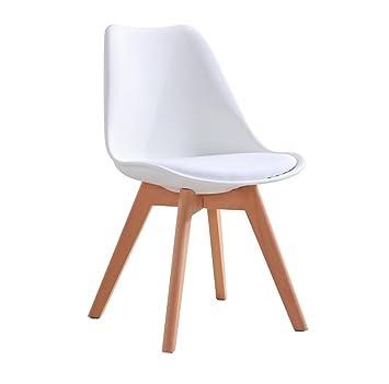Pu0026N Homewares Lorenzo Tulip Chair Plastic Wood Retro Dining Chairs White  Black Grey Red Yellow Pink Green Blue (WHITE): Amazon.co.uk: Kitchen U0026 Home