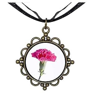 Chicforest Bronze Retro Style Carnation For Mom Round Flower Pendant