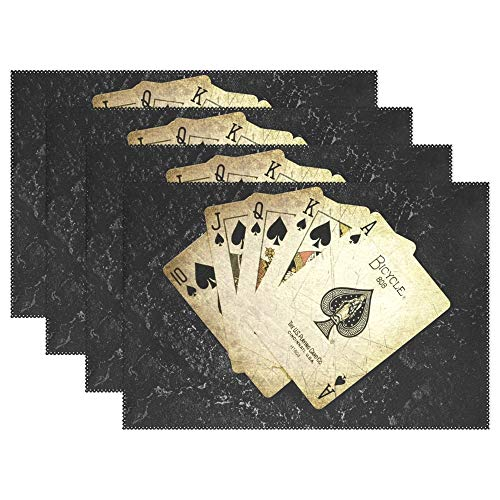 LEISISA Set of 6 Placemats,Sequence of Poker Heat-Resistant Stain Placemats for Dining Table ()