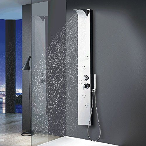 Vantory Shower Panel System VS061 8K Chrome Mirror Stainless Steel Rainfall Waterfall Multi-Function Faucet with 5 body jets