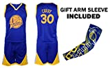 Steph Curry Jersey Kids Basketball Curry Jersey & Shorts Youth Gift Set ✓ Basketball Compression Shooter Arm Sleeve ✓ Premium Quality (YS 6-8 Years, Curry Jersey Gift Set)