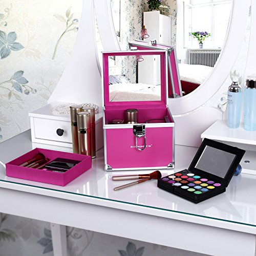 Songmics Mini Makeup Train Case With Mirror Cosmetic