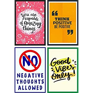 Craft Qila Good Vibes Inspirational Motivational Self Adhesive Posters for Room Decoration (300 GSM Thick Paper, 45 x 30 x 2 cm) Pack of 4