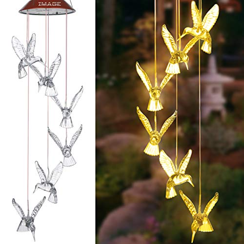 IMAGE Solar Wind Chimes Warm White Hummingbird Chimes Mobile LED Wind Chimes for Mother Home Garden Decor Patio Yard Lawn