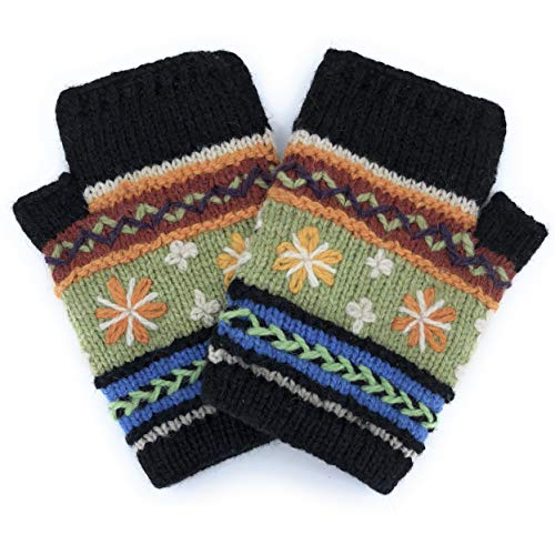 Hand Knit Fingerless Genuine Alpaca Embroidered Winter Texting Gloves Mittens Warm Fleece Lined ()