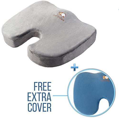 Ergonomic Memory Foam Seat Cushion - Orthopedic Lower Back, Butt & Hip Support for Tailbone & Coccyx – Sitting Pain Relief Comfort for Sciatica & Disc Injury – Office Desk Chair, Car and Wheelchair by CushionCare