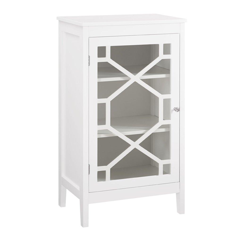 Linon AMZN0289 Nash White Single Door Cabinet Black Linon Home Décor Products Inc