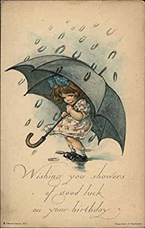 Amazon Birthday Wishes With Girl Holding Umbrella Original Vintage Postcard Entertainment Collectibles