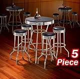 5pc Black Wood Bar Table & Commercial Restaurant Chrome Black Swivel Barstool Set 29″