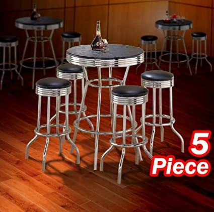 5pc Black Wood Bar Table U0026 Commercial Restaurant Chrome Black Swivel Barstool  Set ...