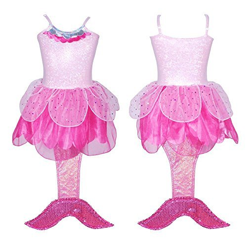 Girls Pink Mermaid Costumes (Girl'sPink Mermaid Costume with Tail)