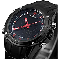 Zeiger New Analog Digital Sport Watch Men Black Stainless Steel Military Aviator Pilot Watch for Men (Black)