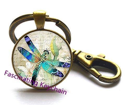 Vintage Dragonfly Glass Key Ring. Dragonfly Keychain, Dragonfly jewelry, birthday gift,Christmas gift ,Glass cabochon Key Ring