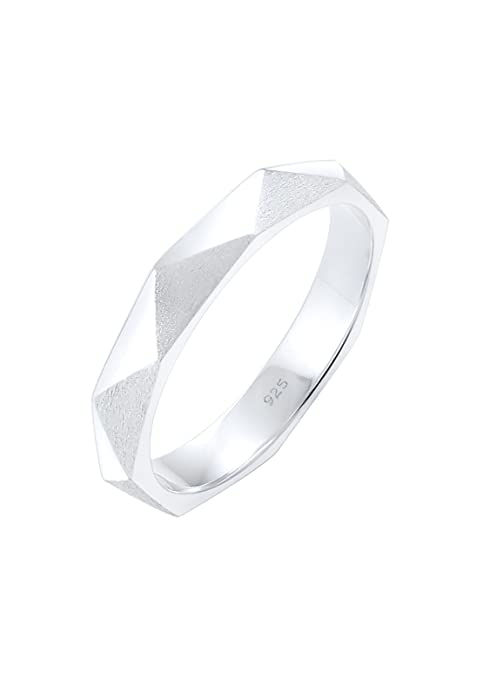 Elli Women's 925 Sterling Silver Geo Minimal Shiny Brushed Hexagon Ring re8mGhUQU