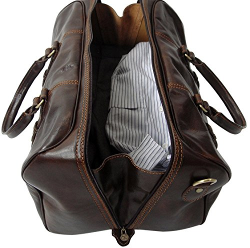 Small Dark Detachable Bag Carry Brown Shoulder Dark Holdall Strap Rivello Leather Genuine On Brown qzCwUfwH