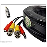 Wennow black 200Ft Video Power Cable CCTV Security Camera Extension Wire DVR BNC RCA Cord