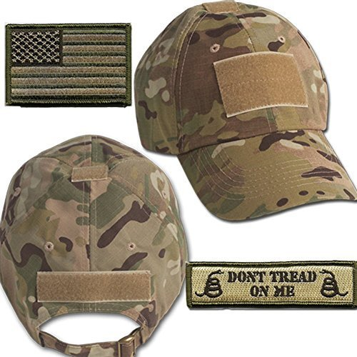 (Gadsden and Culpeper Operator Cap Bundle - w USA/Dont Tread Patches (Multicam Cap))