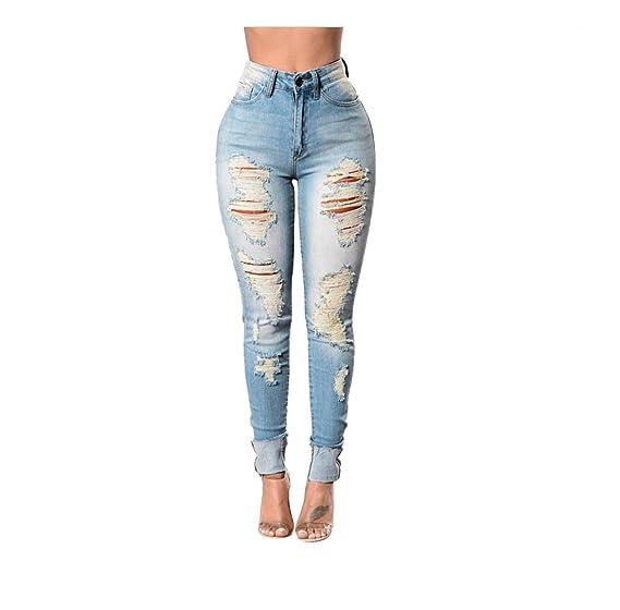 Pantalones Vaqueros Rotos Mujer Slim fit Tallas Grandes ...