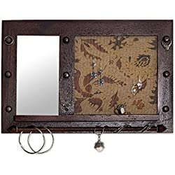 NOVICA White Cotton Wood Batik Jewelry Display Organizer with Mirror 'Bali Heritage In Brown'