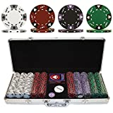 Trademark Poker 500 Tri- Color Ace/King Suited Poker Chip Set with Aluminum Case, 14gm