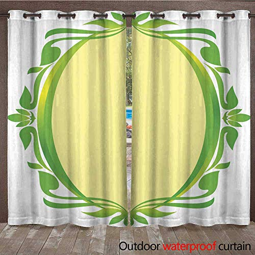 RenteriaDecor Outdoor Balcony Privacy Curtain Green Gold Oval Frame Floral Wedding W72 x L84
