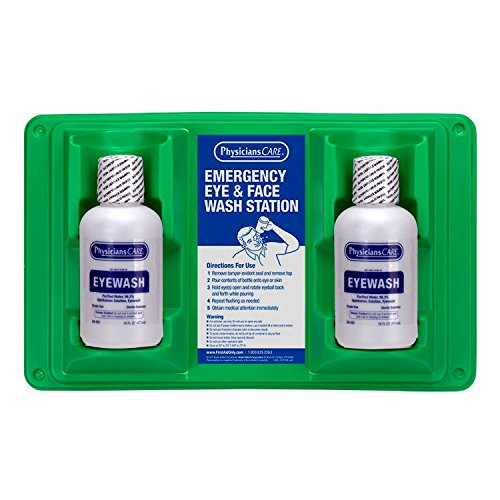 - PhysiciansCare by First Aid Only 24-102 Wall Mountable Eye and Skin Flush Station with Two 16 oz Bottles, 16-1/2