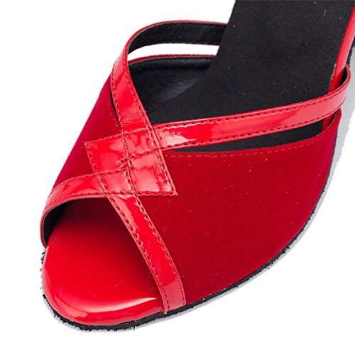 Salsa Latine Tango Ballroom UK6 5 B Womens De Danse Femmes Mode Cow De Buckle Danse Chunky EU40 DQuietness Chaussures Sandals Suede Ankle Strappy Our41 Heel Leather Red R8zqpxax