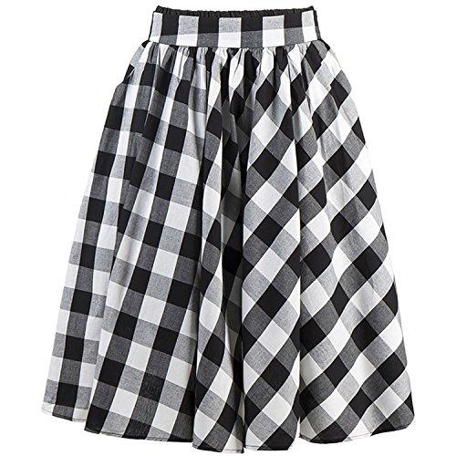 Kimring Women's Vintage Plaid High Waisted A Line Flared Pleated Skater Full Midi Skirt with Pockets Black/White Medium -