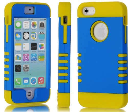 myLife True Yellow and Electric Blue - Titan Shield Series (Neo Hypergrip Flex Gel) 3 Piece Case for iPhone 5/5S (5G) 5th Generation Smartphone by Apple (External 2 Piece Fitted On Hard Rubberized Plates + Internal Soft Silicone Easy Grip Bumper Gel)