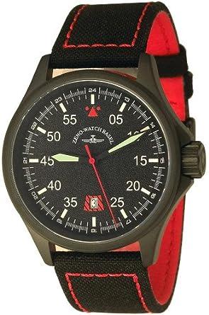 Zeno Speed Navigator Quartz - PVD schwarz - ZB schwarz-rot - Kalender - Nylon