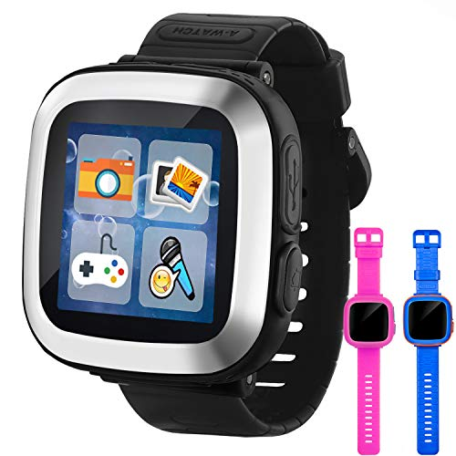 GBD Game Smart Watch for Kids Girls Boys Toddlers Holiday Birthday Gifts Easter Basket Stuffers Wrist Watch with Pedometer 1.5″ Touch 10 Games Alarm Electronic Pets Learning Toys (Black)