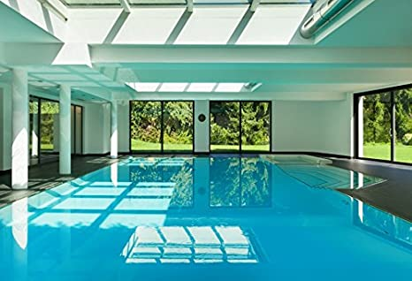 Indoor Swimming Pool Photography Background 10x6.5ft Interior Luxury Blue Water Relaxation Hotel Residential Leisure Lifestyle Spa Nobody Empty Healthy Ceiling Modern Resort Wide