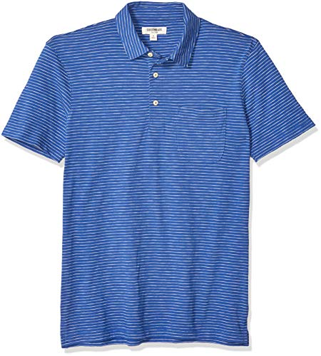 Amazon Brand - Goodthreads Men's Short-Sleeve Lightweight Slub Polo Shirt, Bright Blue Stripe, X-Small