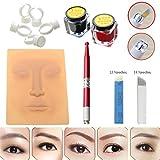 Eyebrow Tattoo Kit,Eyebrow Tattoo Microblading Needle Pen Pigment Practice Skin For Manual Permanent...