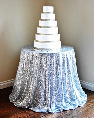 """51GBR0SdQfL - 156"""" Round Sparkly silver Sequin Table Cloth Sequin Table Cloth,Cake Sequin Tablecloths, Sequin Linens for Wedding"""
