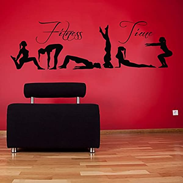 Amazon Com Wall Decals Fitness Time Vinyl Decal Sport Sticker Girls Yoga Studio Pilates Decal Art Home Interior Design Living Room Decal Gym Decor Kt64 Kitchen Dining