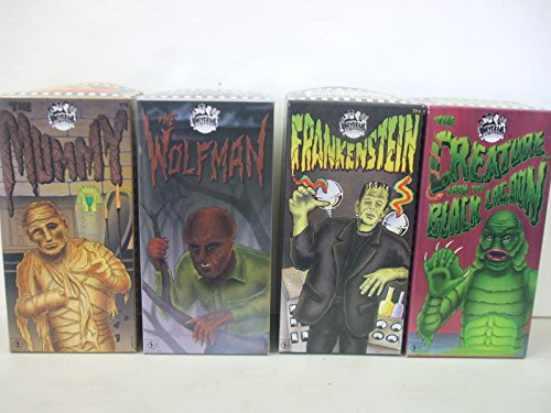 Universal Monsters 1991 Set Of 4 Tin Wind Up Mechanical Operated Walking Robot Toys - Mummy, Creature from the Black Lagoon, Frankenstein, Wolfman - Made by Robot House of Japan