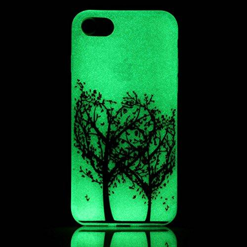 iPhone 7 / 8 Hülle mit Fluoreszenz , Modisch Pfirsichbaum Transparent TPU Silikon Schutz Handy Hülle Handytasche HandyHülle Etui Schale Schutzhülle Case Cover für Apple iPhone 7 / 8