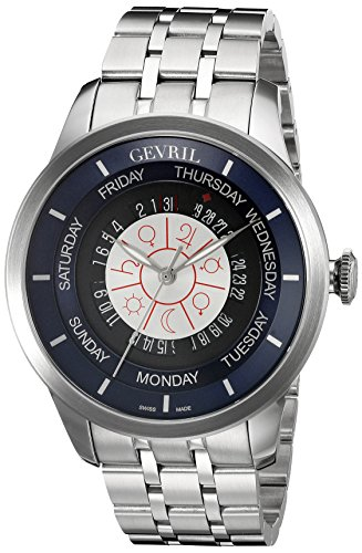 Circle Stainless Steel Rotor - Gevril Columbus Circle Mens Swiss Automatic Silver Stainless Steel Bracelet Watch, (Model: 2000B)