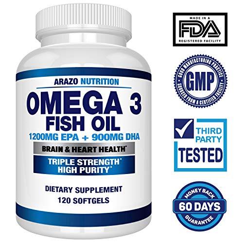 Omega 3 Fish Oil 2250mg   HIGH EPA 1200MG + DHA 900MG Triple Strength Burpless Capsules   120 Pills   Arazo Nutrition by Arazo Nutrition (Image #1)
