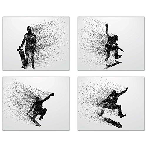 Summit Designs Skateboarding Wall Art Prints - Silhouette – Set of 4 (8x10) Poster Photos - Bedroom - Man Cave