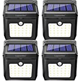 Solar Lights, Luposwiten 400 Lumens Outdoor Solar Lights with Motion Sensor, 125°Wide Angle Waterproof Wireless 28 LED Solar Powered Outdoor Motion Sensor Lights for Garden Patio Stair Step Garage(4-Pack)